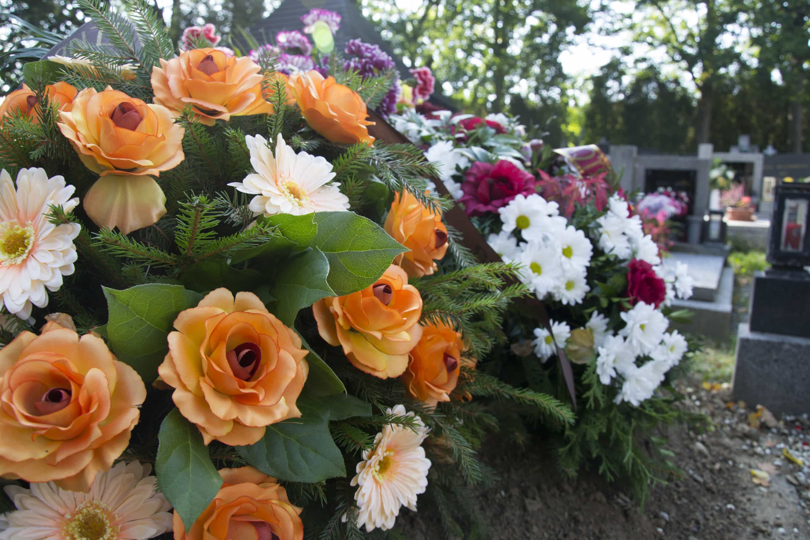 funeral flowers, flowers on the grave