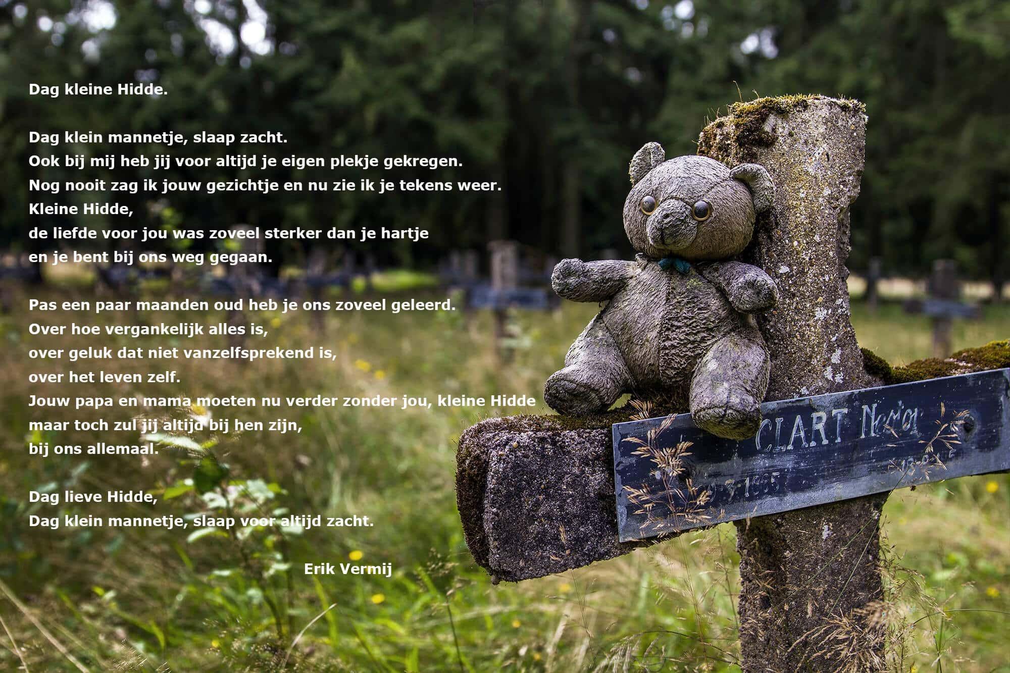 Dit gedicht is geschreven voor de haast ontroostbare ouder voor kleine Hidde