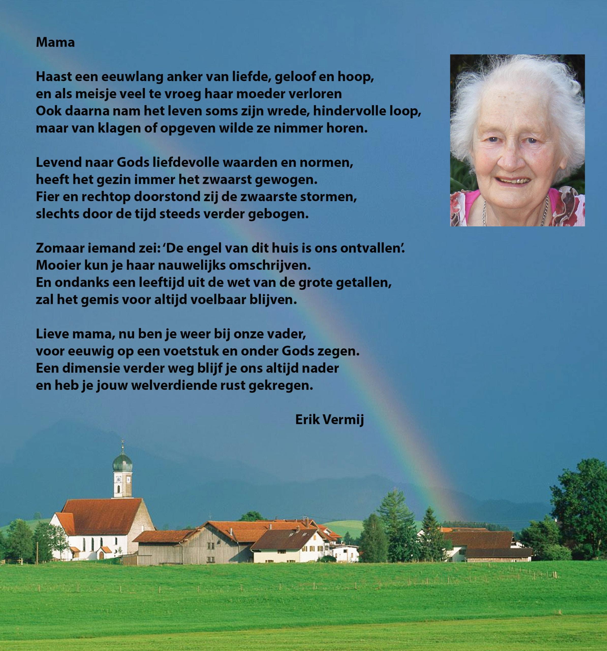 Dit gedicht is voorgedragen bij het graf door de dochter bij het laatste afscheid.