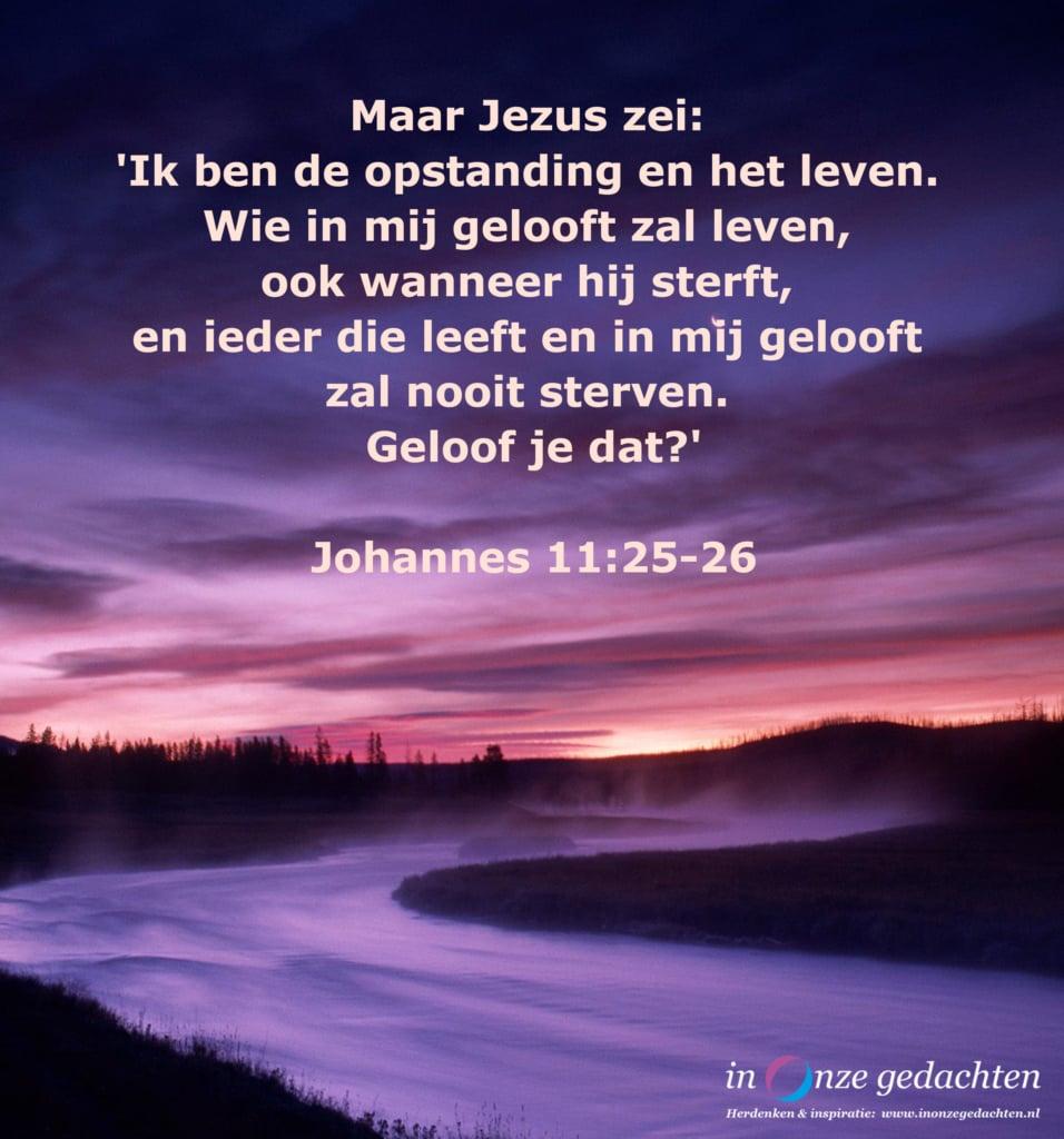 Jezus zei , Johannes 11, 25-26